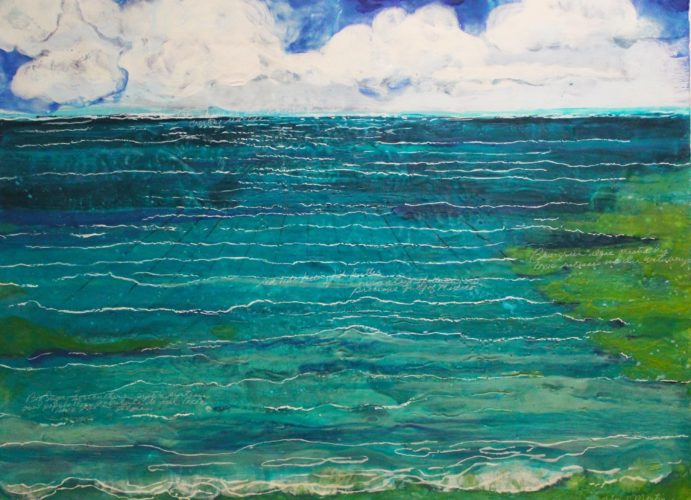 Deborah Martin- Green Algae,  Encaustic on paper mounted canvas
