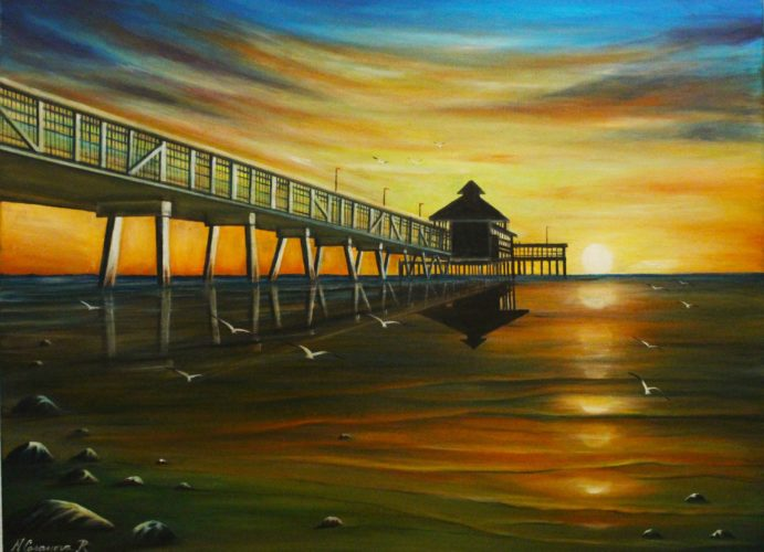 Martin Casanova- Sunset on the Pier, Oil
